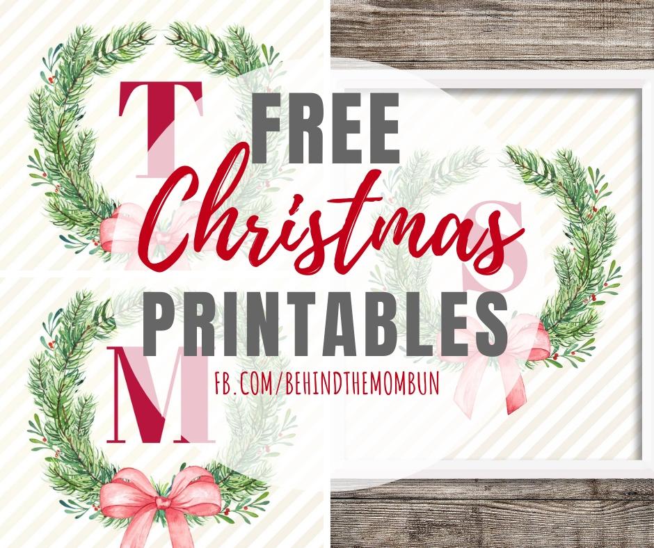 Wreath Christmas Printables with Monogram