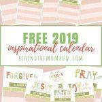 Free 2019 Inspirational Calendar