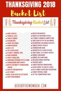 Thanksgiving 2018 Bucket List