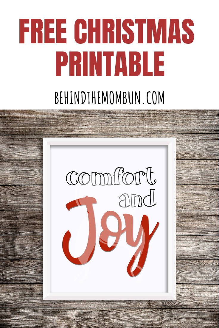 Comfort and Joy Free Christmas Printable