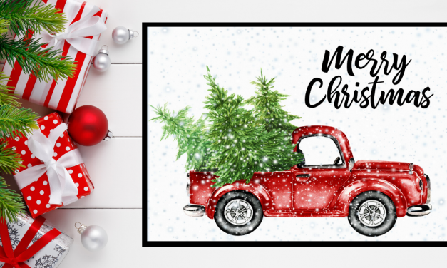 Little Red Truck Merry Christmas Printable