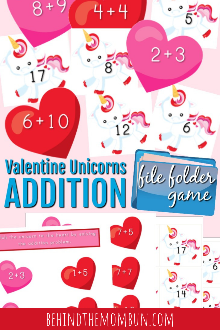 unicorn addition file folder game