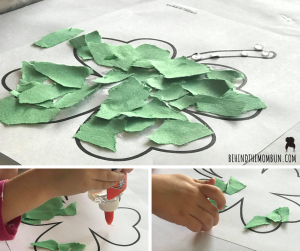 construction paper mosaic clover craft