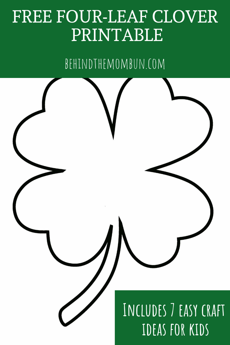 image regarding 4 Leaf Clover Printable known as Absolutely free 4-Leaf Clover Printable (1) - Guiding the Mother Bun