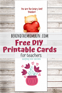 free diy printable cards for teachers