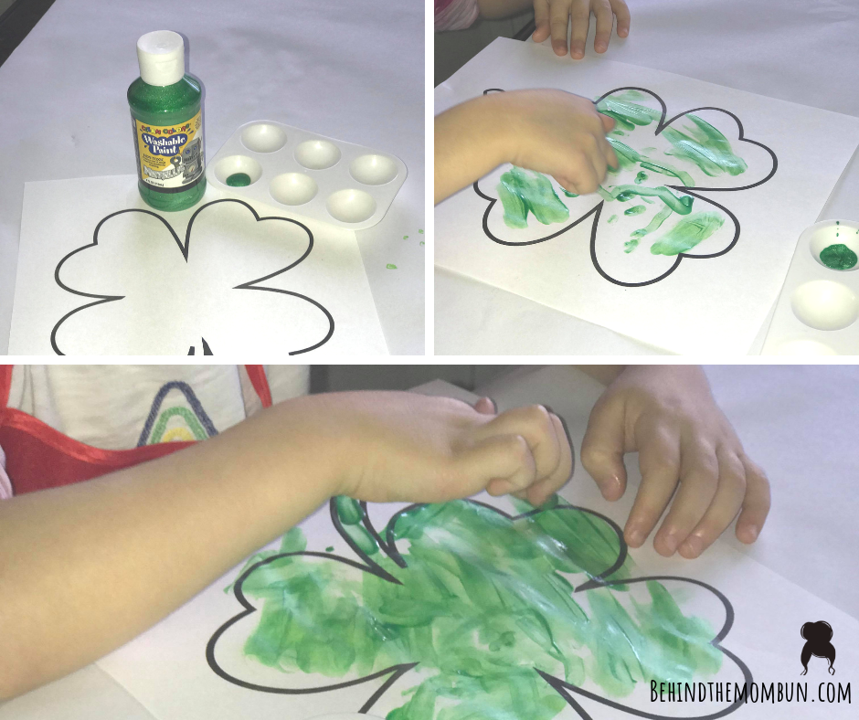 finger painting clover craft