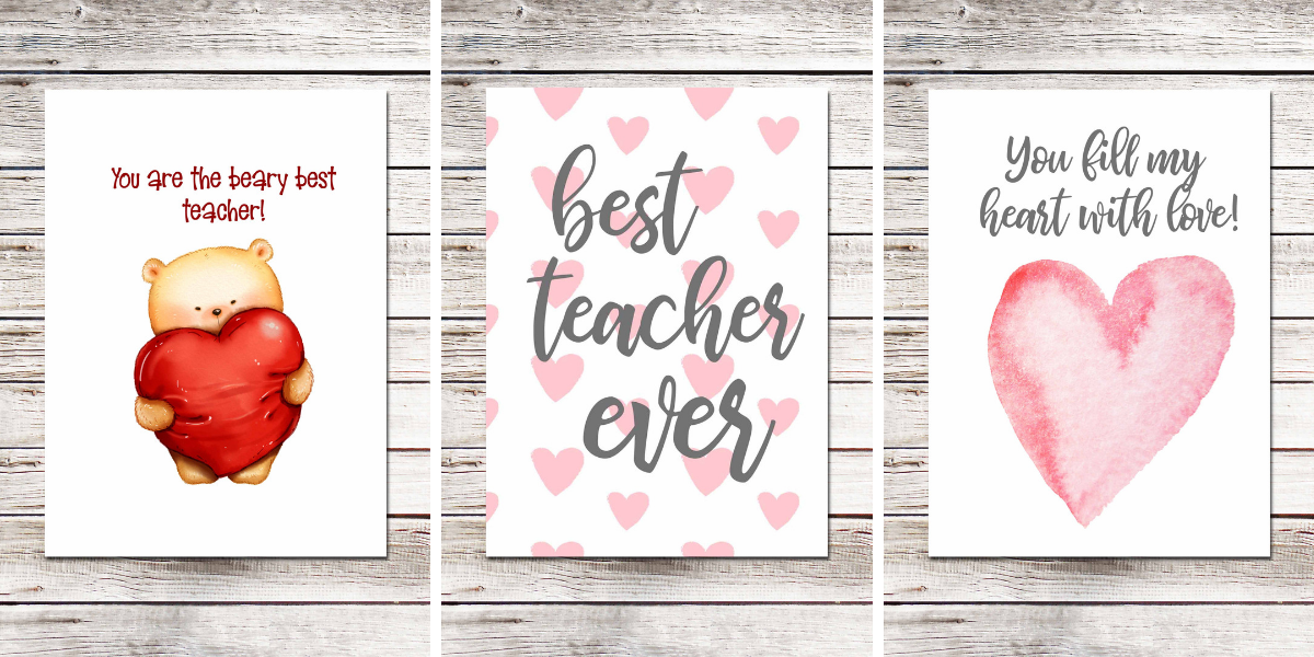 4 Free Teacher Appreciation Cards for Valentine's Day