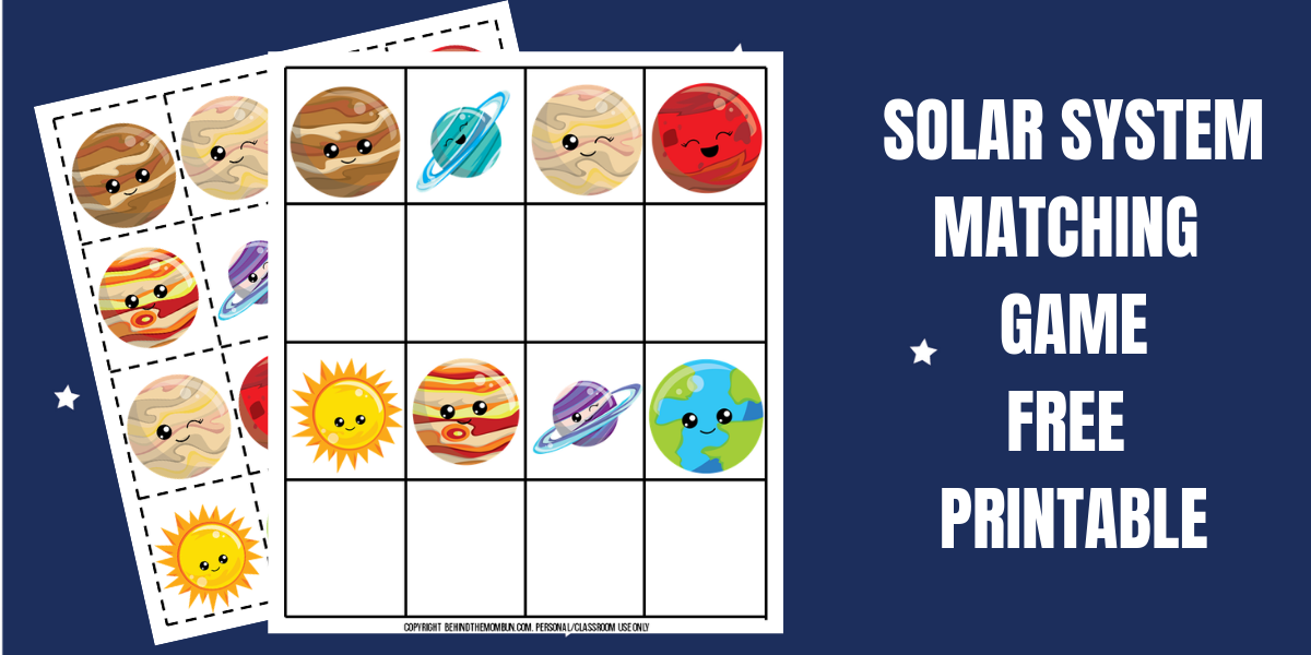 Solar System Matching Game for Kids
