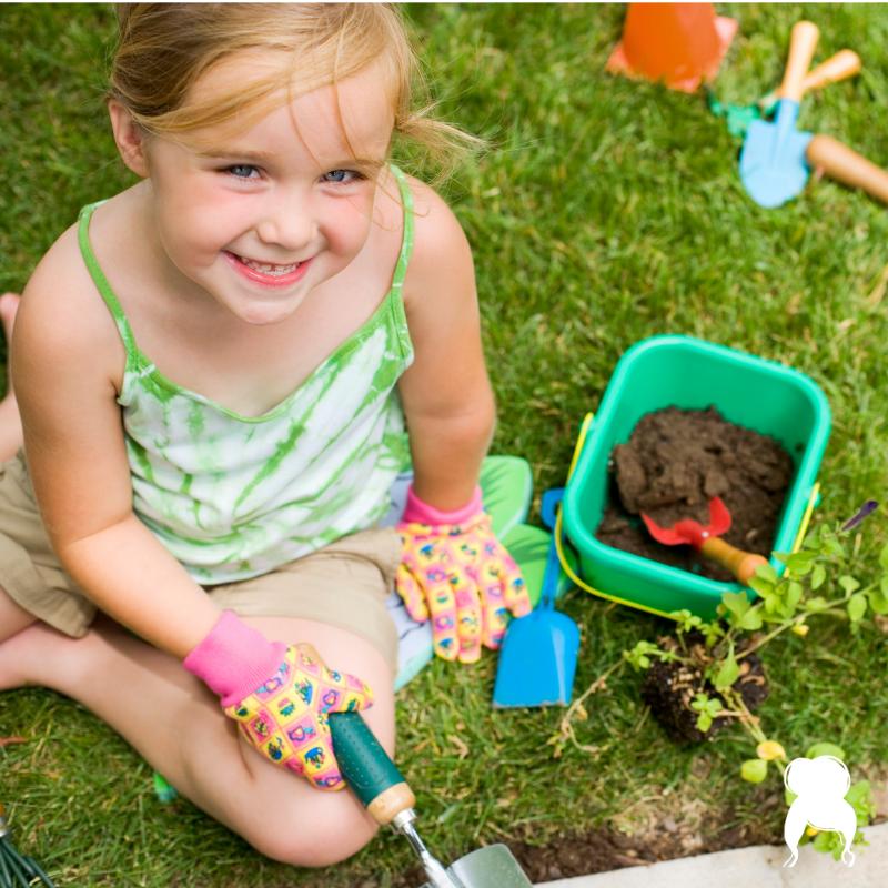 kids in the garden-gardens for kids-behind the mom bun