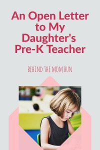 open letter to my child's pre-k teacher