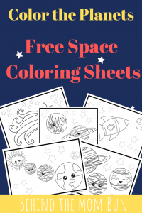 color the planets preschool pack