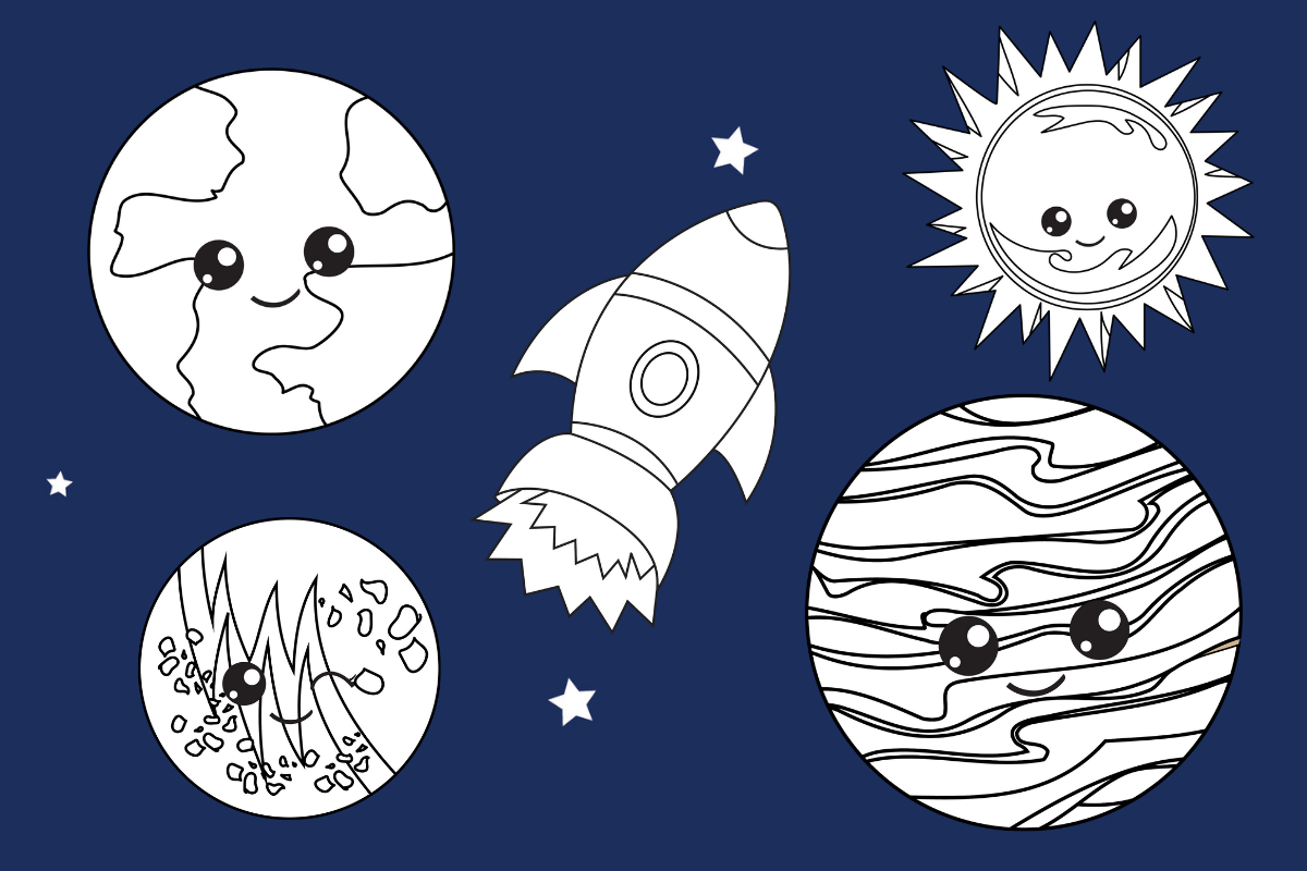 Space Coloring Sheets