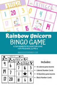 free bingo games for kids rainbow unicorns