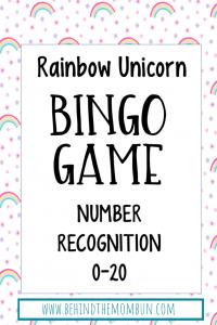 free bingo games for kids rainbow unicorns