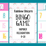 Bingo Games for Kids: Rainbow Unicorn