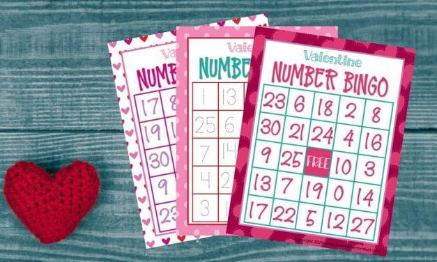 Valentine Bingo: Number Bingo 0-30