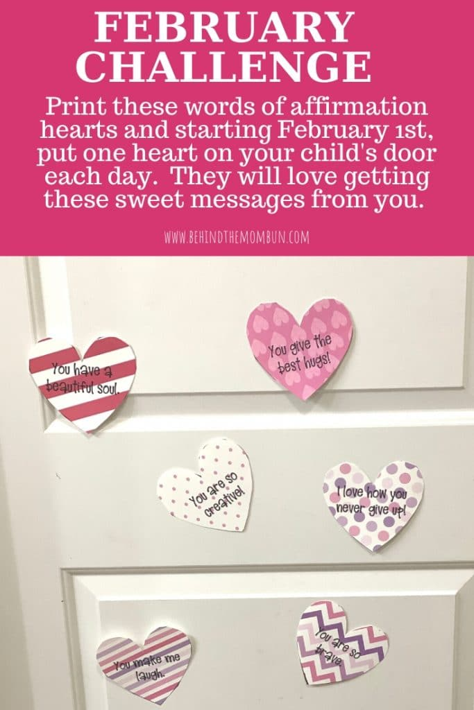 words of affirmation hearts on the door