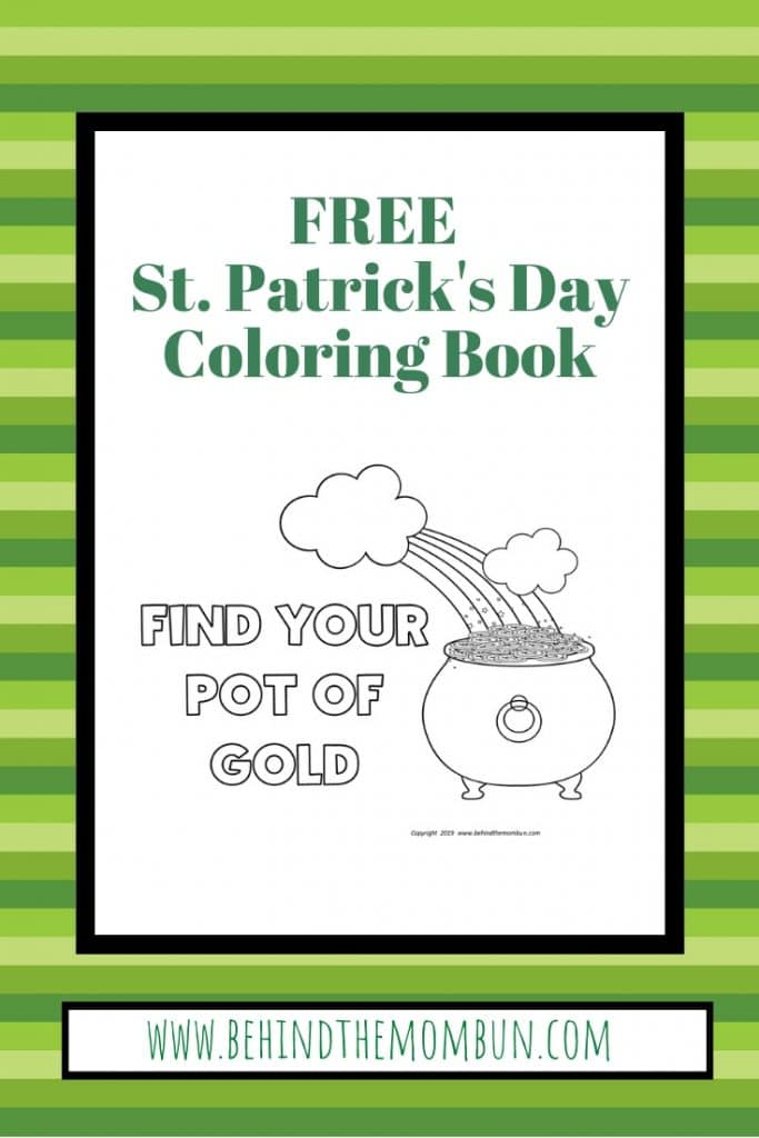 pot of gold coloring page for st. patrick's day