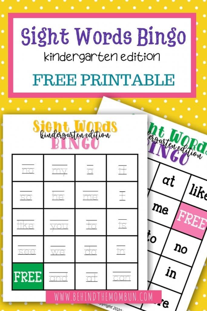 sight word bingo for kindergarten