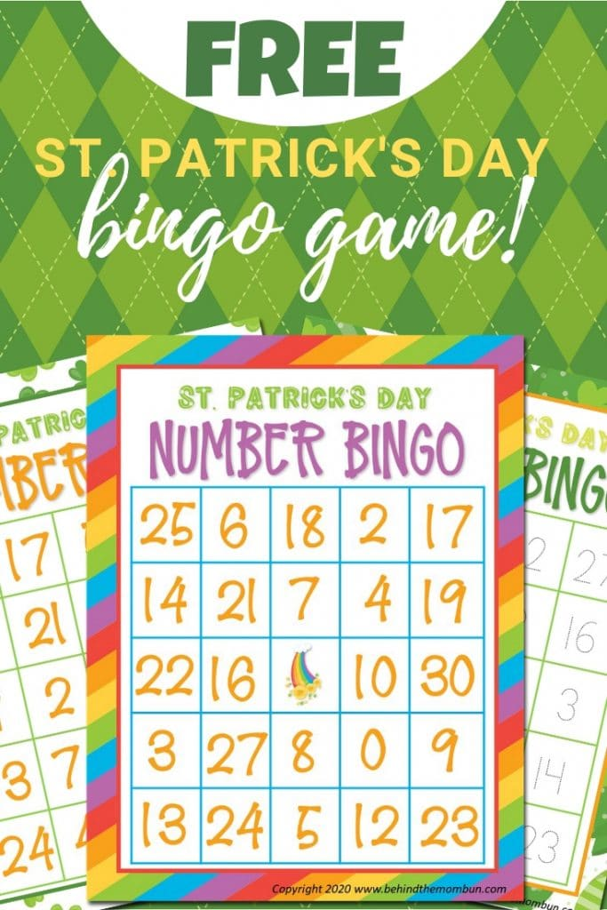 bingo with numbers game for St. Patrick's day