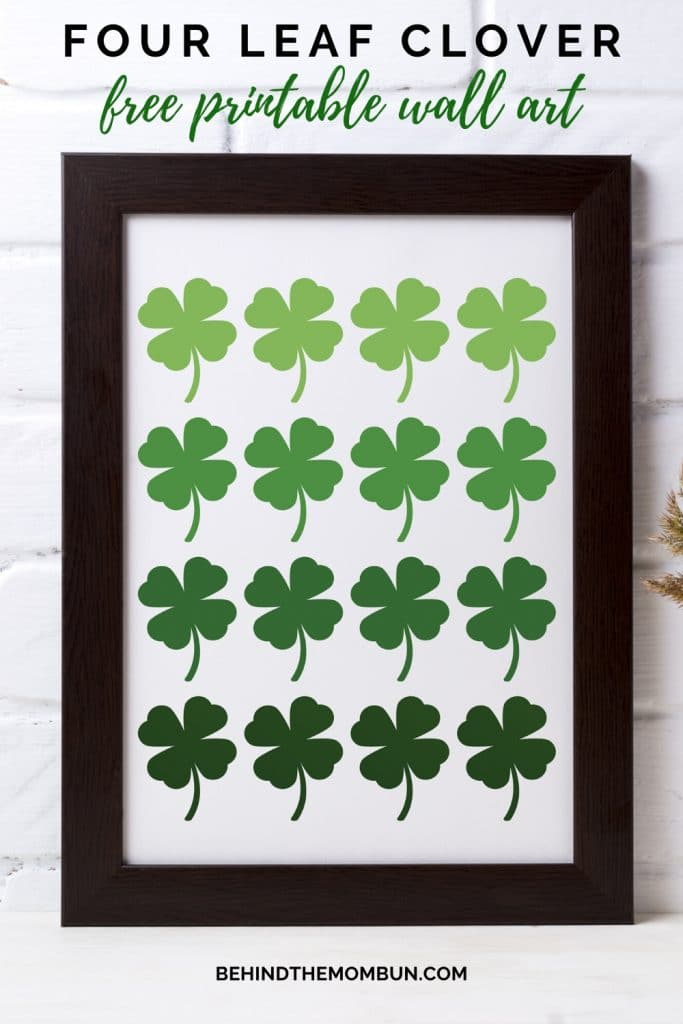 mock image of four leaf clover ombre printable wall art