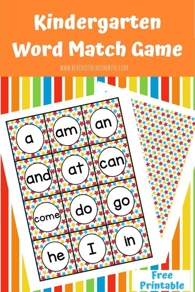 Word match game for kindergarten