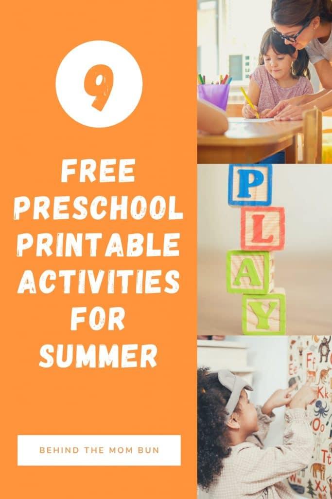 free printable preschool activities