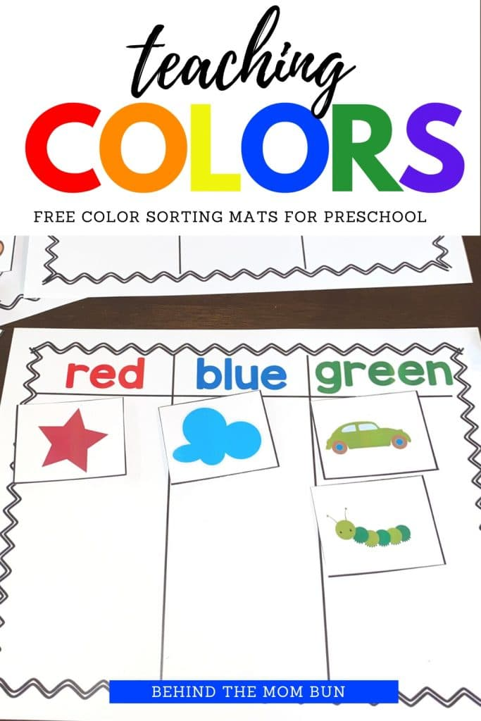 teaching colors with free color sorting mat.