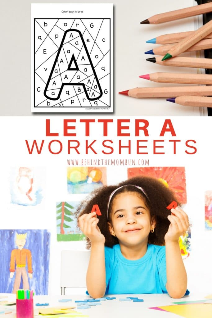 little girl practing the letter a worksheet