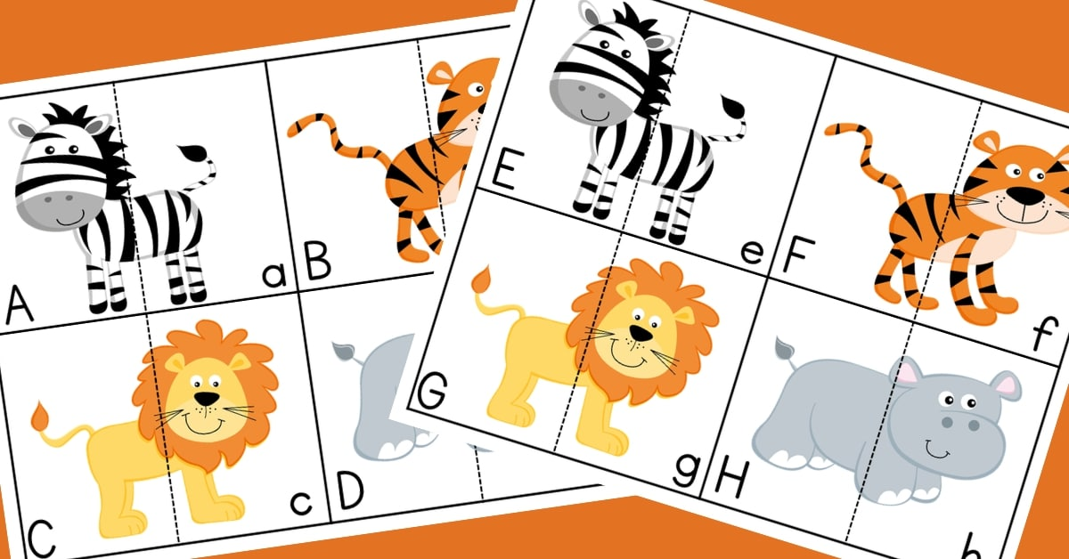 Alphabet Free Printable Puzzle: Wild Animals