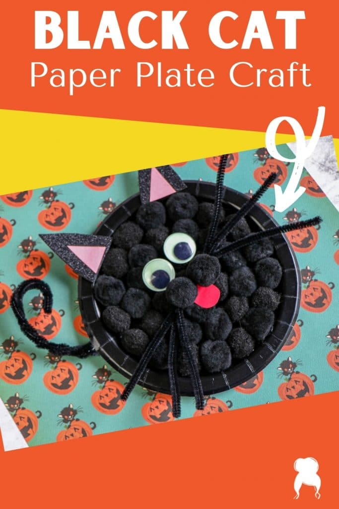 black cat paper plate craft behind the mom bun