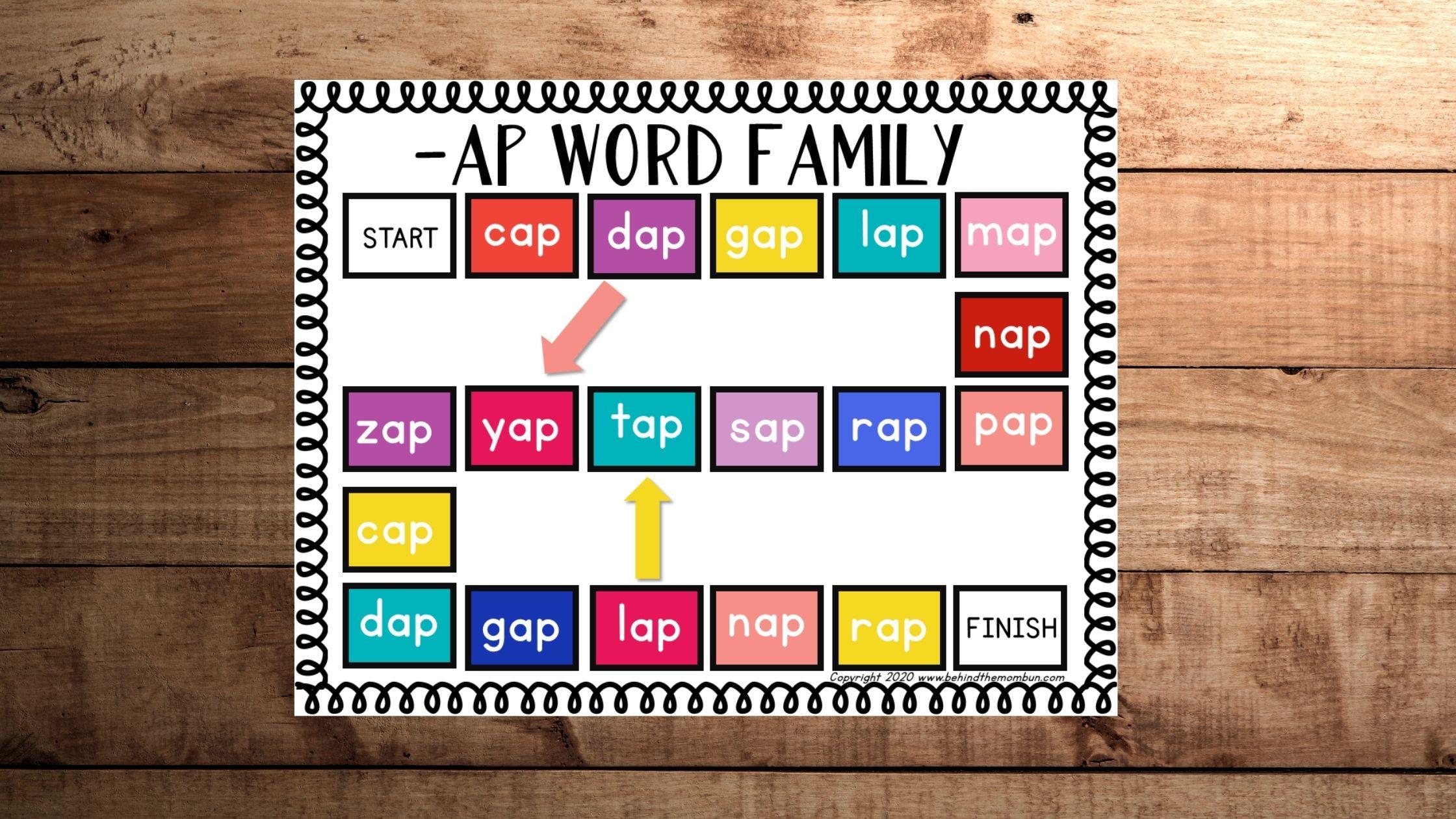 Free Ap Ending Words Board Game
